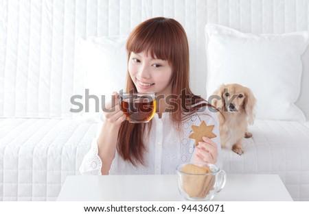 Beautiful young Asian woman relax - stock photo