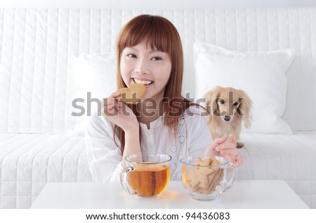 Beautiful young Asian woman relax - stock photo