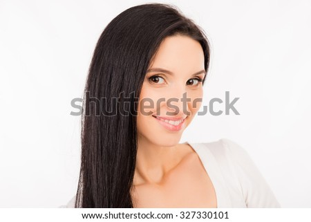 beautiful young asian woman  with long hair smiling - stock photo