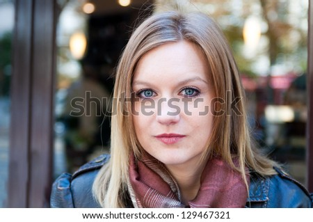 beautiful young attractive woman outdoors cafe portrait