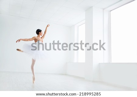 Beautiful young ballerina in pointe - stock photo