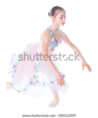 Beautiful young ballerina on a white background - stock photo