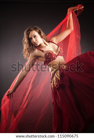 Beautiful young belly dancer, modern ballet