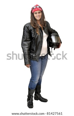 Beautiful young biker isolated in white - stock photo