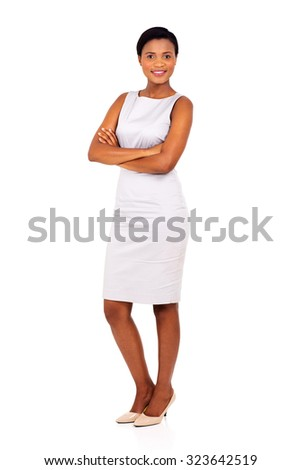beautiful young black business woman posing on white background - stock photo