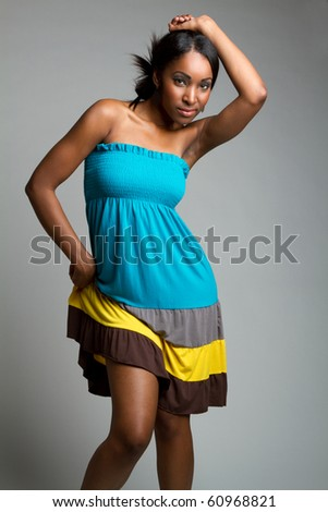 Beautiful young black fashion woman - stock photo