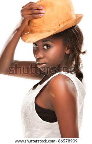 beautiful young black girl - stock photo