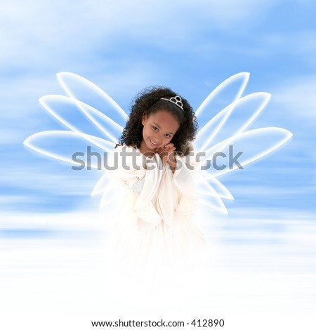 Beautiful young black girl angel or tooth fairy floating in clouds with wings.