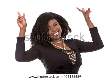 beautiful young black woman is wearing dark dress on white background - stock photo