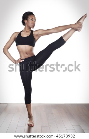 beautiful young black women stretching