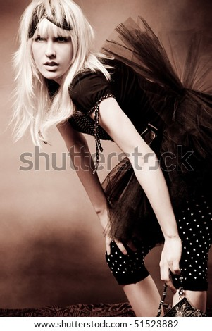 beautiful young blond fashion woman
