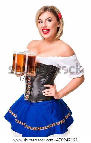 Beautiful young blond girl of oktoberfest beer stein