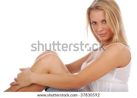 Beautiful young blond girl over white background - stock photo