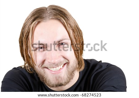 Beautiful young blond male model with beard smiling close up on isolated background - stock photo