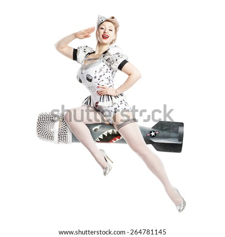 Beautiful young blond woman pin-up  in the image of pilot for the imitation of a poster - stock photo