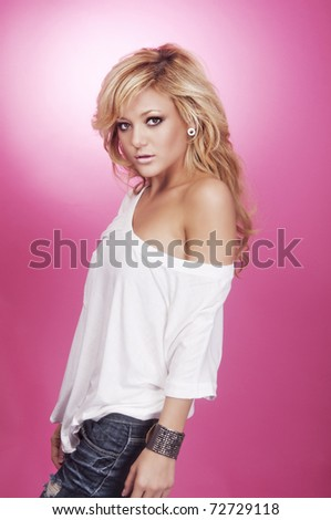 Beautiful young blond woman wearing casual clothing