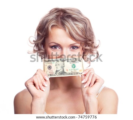 beautiful young blond woman with a ten dollars banknote - stock photo