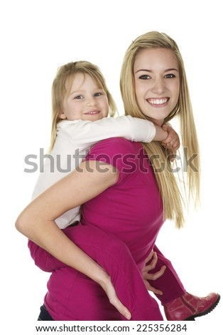 Beautiful Young Blonde Babysitter Giving Cute Stock Photo (Safe to ...