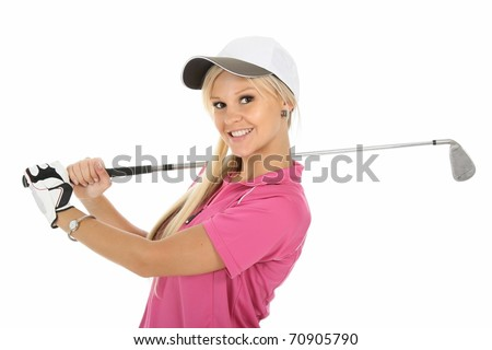 Beautiful young blonde golf player with club and glove - stock photo