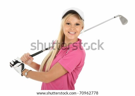 Beautiful young blonde golfer lady in pink shirt and white cap - stock photo