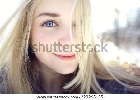 Beautiful young blonde teen - stock photo