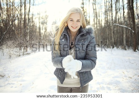 Beautiful young blonde teen - stock photo