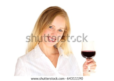 Beautiful young blonde woman toasting with a glass of red wine