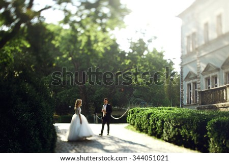 Beautiful young bride and handsome groom walking outdoors near old mansion - stock photo