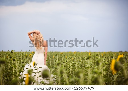 Beautiful young bride, in the wedding day - stock photo