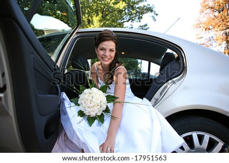 Beautiful young bride looks at the camera and smiles - stock photo