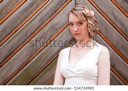 Beautiful young bride standing by the wooden door - stock photo