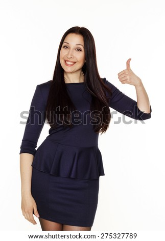 Beautiful young brunette business woman showing hand ok sign - stock photo
