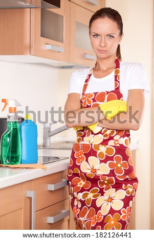 Beautiful young brunette cleaning kitchen. serious girl standing in apron and folded hands - stock photo
