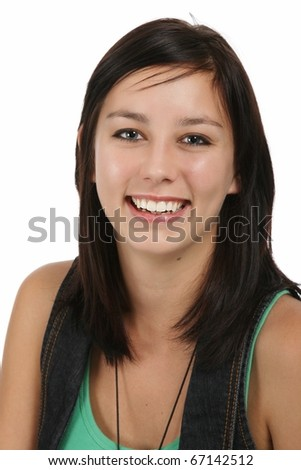 Beautiful young brunette lady with cheerful smile - stock photo