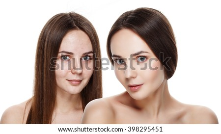 Beautiful young brunette model before and after make-up applying. Comparison portrait. Two faces of model girl face with and without makeup. Isolated on white. Space for text. Ideal for commercial - stock photo