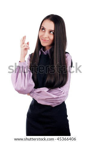 beautiful young brunette student girl - stock photo