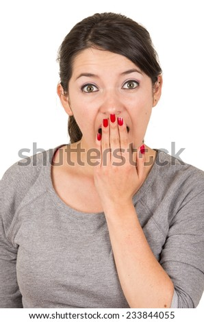 Beautiful young brunette sweet girl posing with hand covering mouth gesturing surprise isolated on white - stock photo