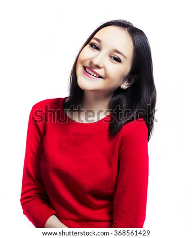 beautiful young brunette teenage girl   isolated against white background - stock photo
