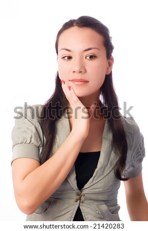 beautiful young brunette thoughtful businesswoman isolated against white background - stock photo