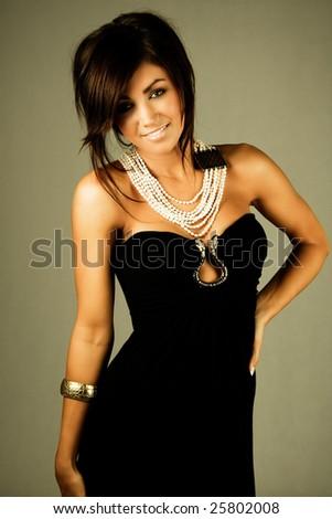 beautiful young brunette woman - stock photo