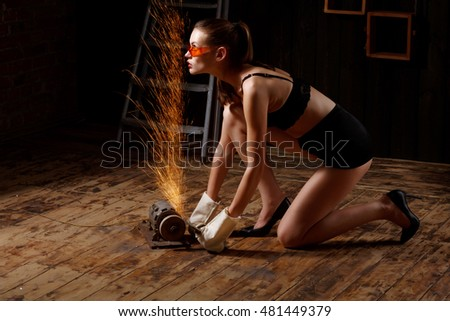 beautiful young brunette woman running for sharpener machine