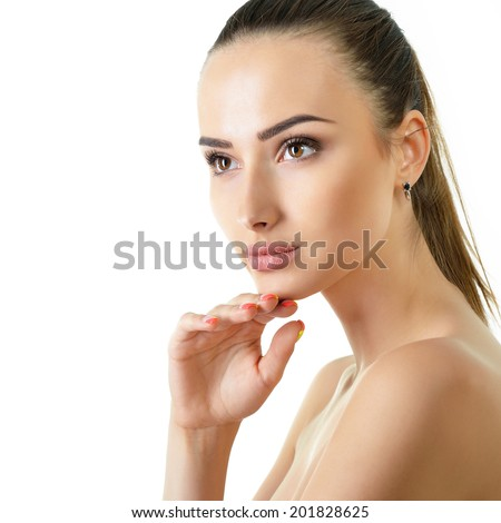 Beautiful young brunette woman with clean face over white. Health care, skincare, youth, freshness, makeup. - stock photo