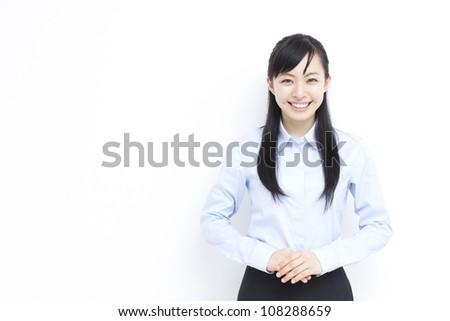 beautiful young business woman - stock photo