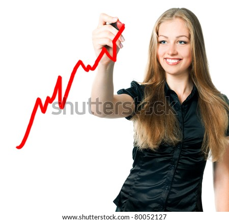 beautiful young business woman drawing a marker