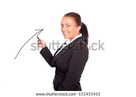 beautiful young business woman drawing diagram - stock photo