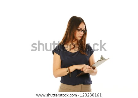 beautiful young business woman holding a clipboard isolated on white - stock photo