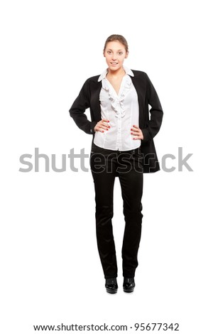 beautiful young business woman isolated on white background - stock photo