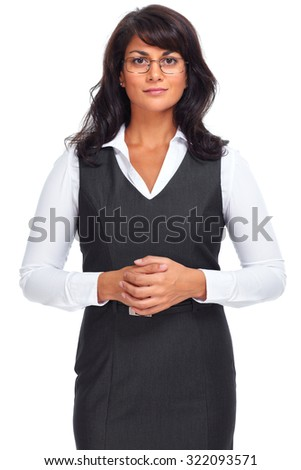 Beautiful young business woman. Isolated over white background. - stock photo