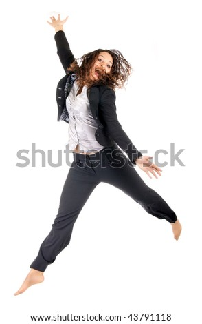 beautiful young business woman jumping over white background