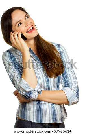 Beautiful young business woman laughing and talking on her mobile phone. Isolated over white. - stock photo